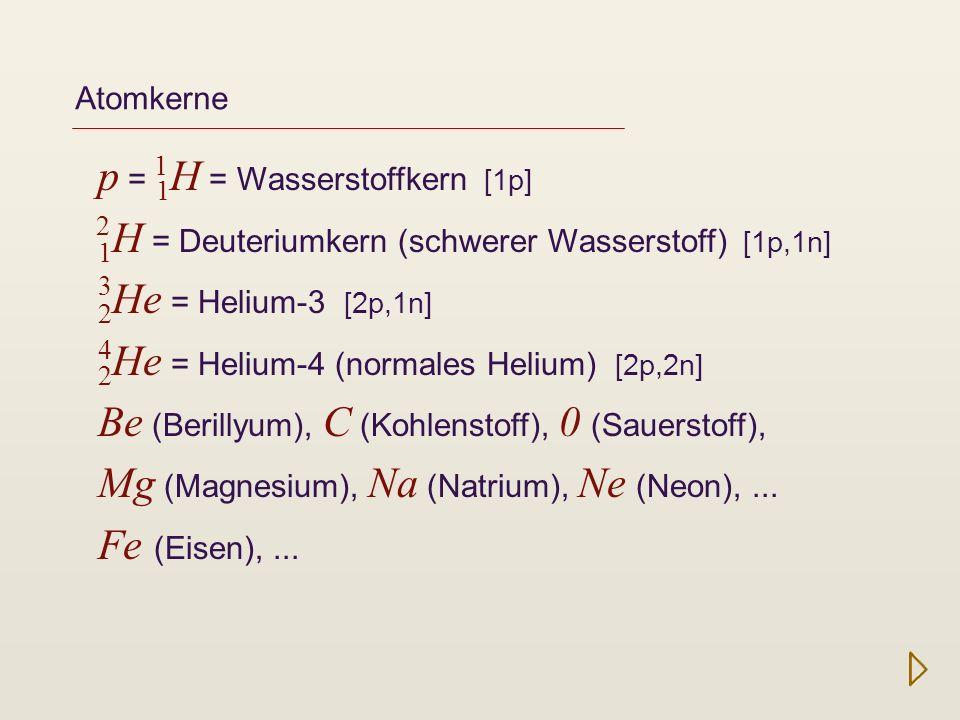 p = 1H = Wasserstoffkern [1p]
